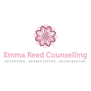 Flower logo Emma Reed Counselling Accepting, Appreciating, Encouraging