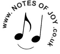 A smiling musical notationface with www.notesofjoy.co.uk