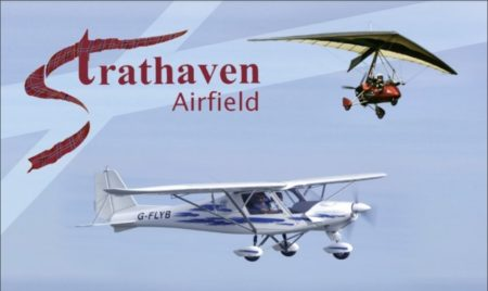 Strathaven Airfield sign with aircraft